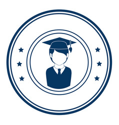 circular frame with silhouette man graduated and vector image
