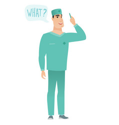 doctor with question what in speech bubble vector image