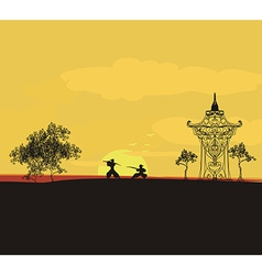 Fighting Samurai silhouette at sunset Asian vector image