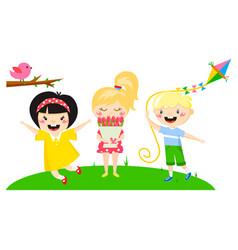 kids play enjoy spring arrival warm summer little vector image vector image