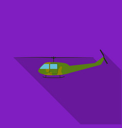 military helicopter icon in flat style isolated on vector image
