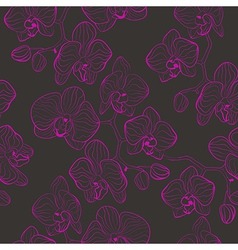 Seamless flower pattern with orchids phalaenopsis vector image