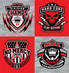 Sports shield emblem graphic set vector image vector image