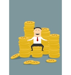 Successful wealthy businessman sitting on money vector