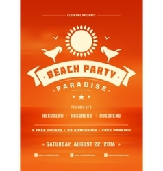 Summer Holidays Beach Party Typography Poster or vector image