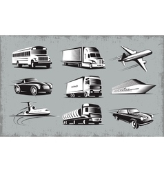 Various Transport Modes Symbol Set vector image vector image
