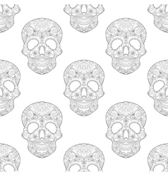 Zentangle stylized Skull for Halloween seamless vector image vector image