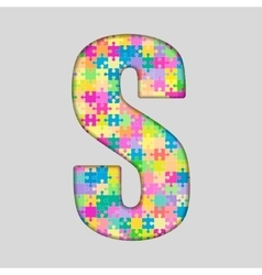 Color Piece Puzzle Jigsaw Letter - S vector image