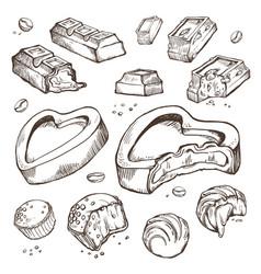 Set of sketches bitten chocolates sweet vector