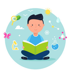 Boy reading a book on science or nature study vector