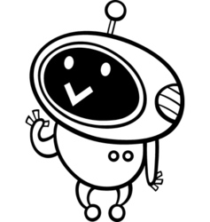 cartoon kawaii robot coloring page vector image vector image