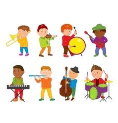 Cartoon musician kids for vector image