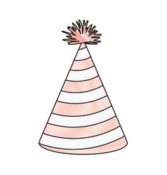 Crayon silhouette of light pink color party hat vector