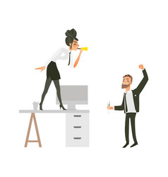 flat office workers at party set vector image vector image