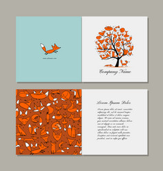 greeting card with foxy tree design vector image vector image