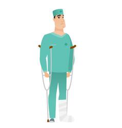 injured doctor with broken leg vector image vector image