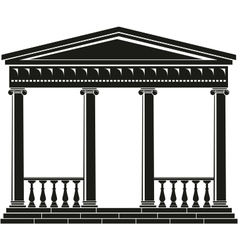 portico of ancient temple with balustrade vector image vector image