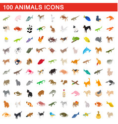 100 animals icons set isometric 3d style vector