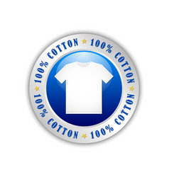 100 cotton t-shirt badge or icon isolated on vector image