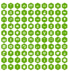 100 summer holidays icons hexagon green vector