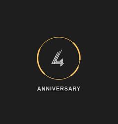 4 anniversary logotype with silver number vector