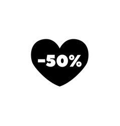 50 off sale heart flat icon vector image