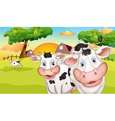 A farm with many cows vector