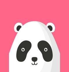 Adorable panda bear snout flat vector