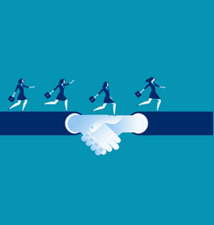 Agreement and hand shake business woman running vector