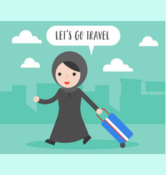 Arab woman pull travel luggage lets go travel vector