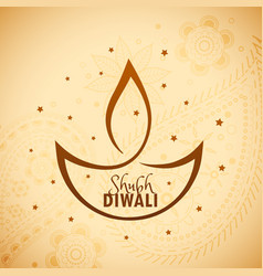 Artistic diwali diya with stars vector