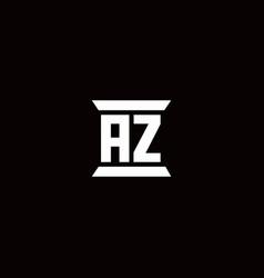 Az logo monogram with pillar shape designs vector