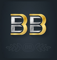 b and - initials bb - metallic 3d icon vector image