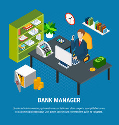 banking manager isometric composition vector image
