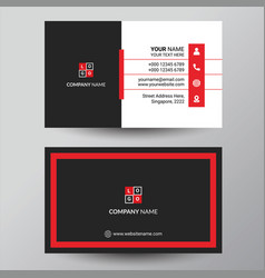 Black red elegant corporate business card design vector