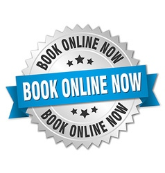 Book online now 3d silver badge with blue ribbon vector