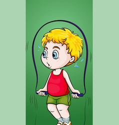 boy doing jumprope on green background vector image