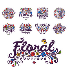 bright badge for flower shop decorative hand drawn vector image