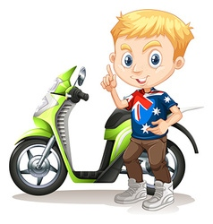 British boy and motorcycle vector image