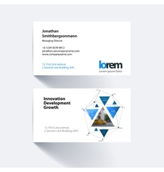 Business card template with triangular vector