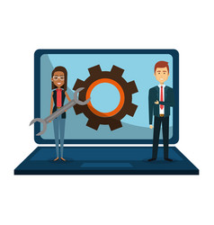 business couple with laptop vector image