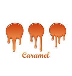 caramel drop 3d set realistic caramel melted vector image