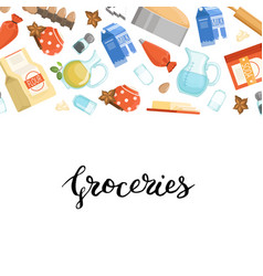 Cartoon cooking ingridients or groceries vector