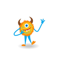 Cartoon yellow fluffy horned cheerful monster vector