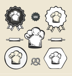 chef cook vintage hat icon flat web sign symbol vector image