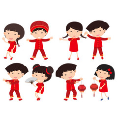 Chinese boys and girls in red outfit vector