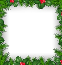 Christmas Border From Holly Berry vector