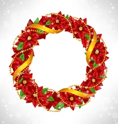 Christmas wreath with poinsettia on grayscale vector