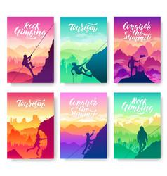 climber climbs the mountain brochure cards set vector image