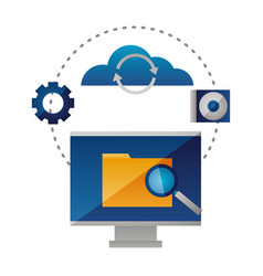 cloud computing folder analysis computer vector image